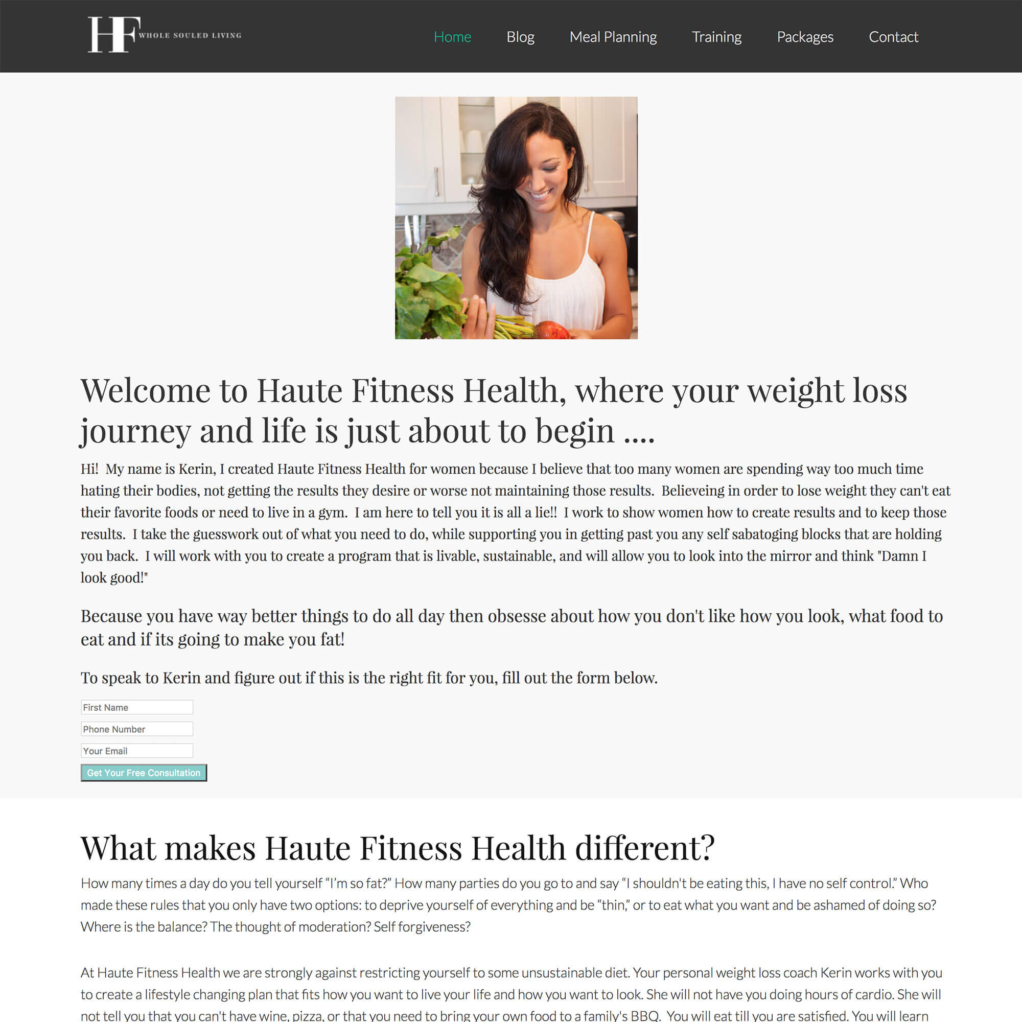 Health Coach Website Redesign: Before