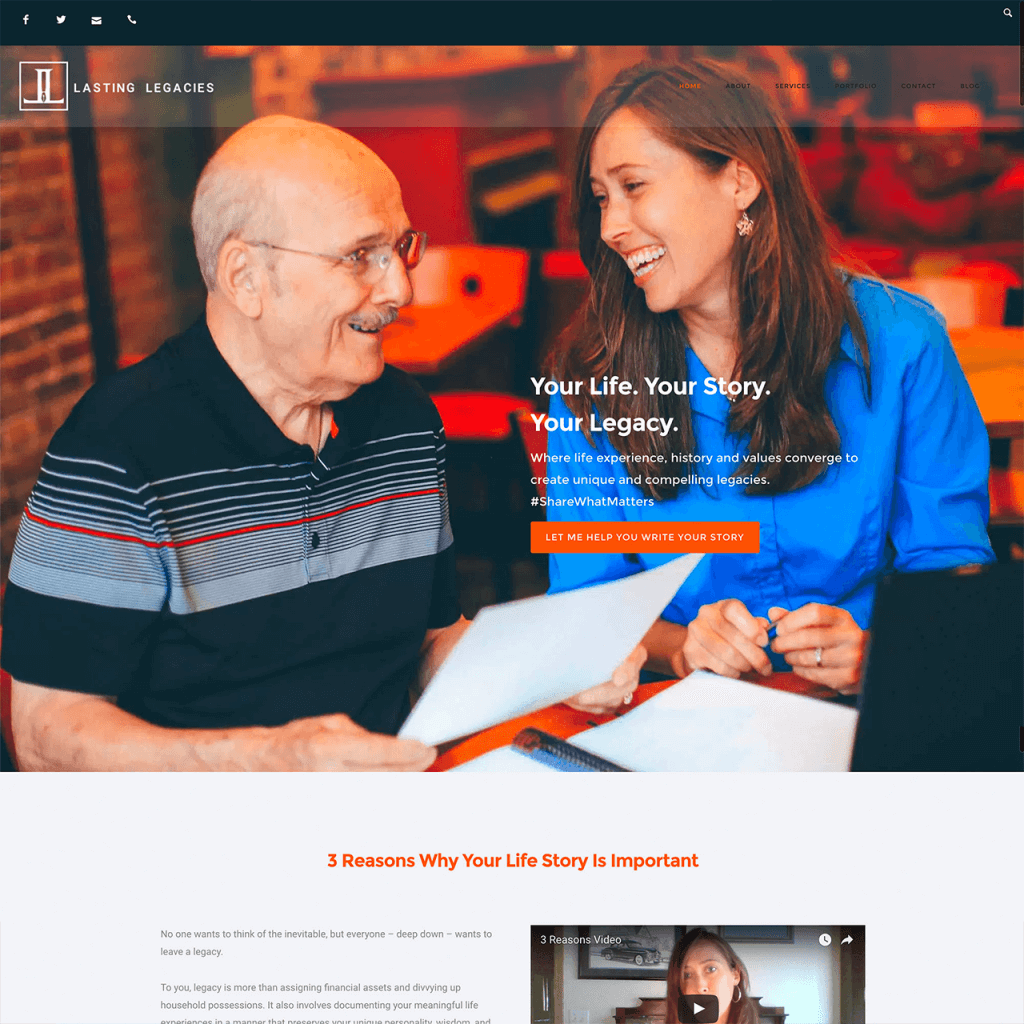 Lasting Legacies Dalene Bickel Website Design