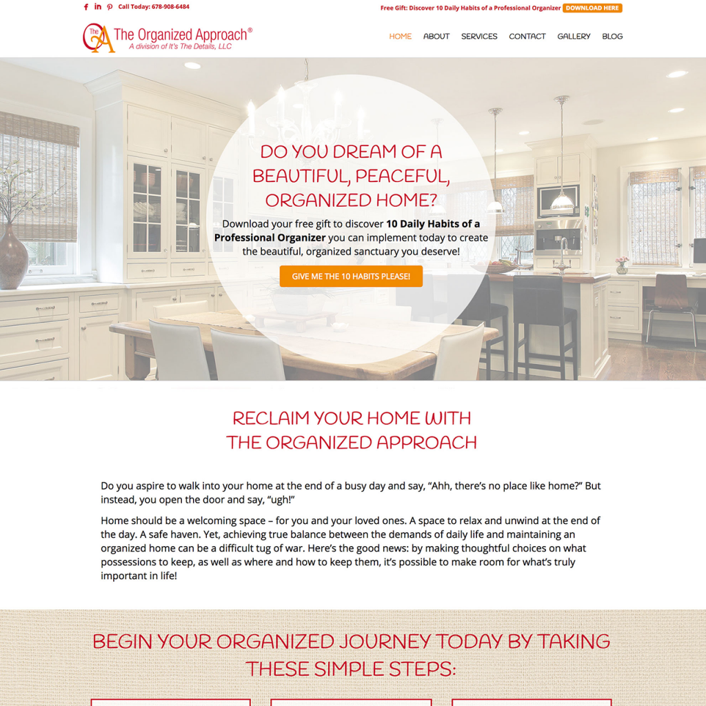 The organized approach, website design, marketing funnel, lead magnet