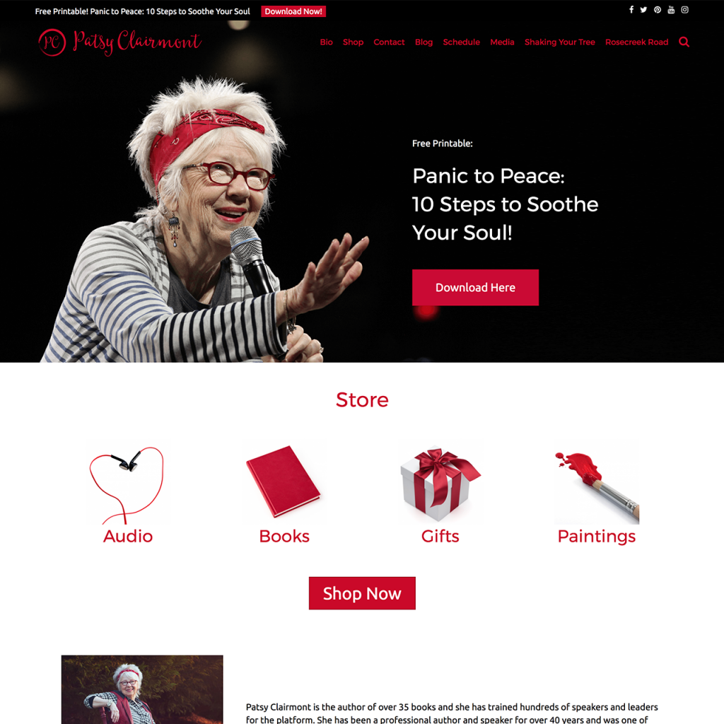 Patsy Clairmont Website Design
