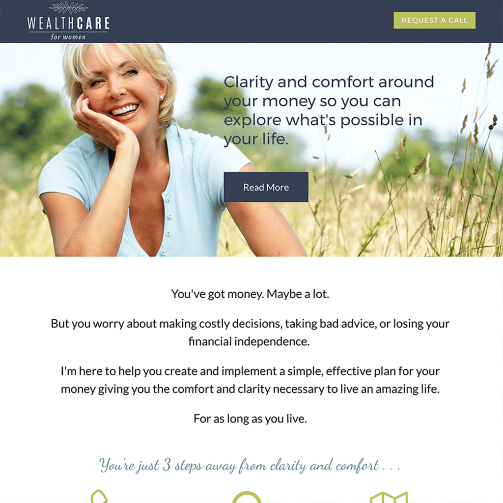 wealthcare for women website design marketing funnel design logo design